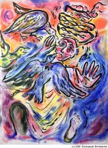 """Joseph Interprets the Dream of the Baker"" by Shoshannah Brombacher; pastel and ink on paper , 24 X 18 inches, New York, 2008"